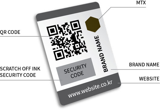 QR Code/MTX/Scratch off ink(Security Code)/Brand Name/Website